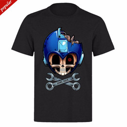 $enCountryForm.capitalKeyWord Canada - MEGAMAN BLUE SKULL FACE GAME OVER UNISEX BLACK CLASSIC GAMER PH14 T-SHIRT