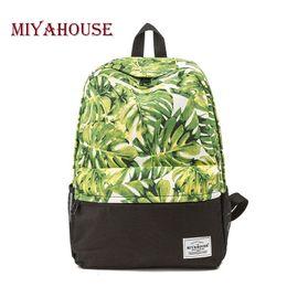 $enCountryForm.capitalKeyWord Canada - Fresh Style School Backpack For Teenager Girls Leaves Print Canvas Backpack Female Travel Leisure Laptop Rucksack