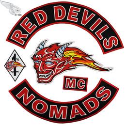Großhandel RED DEVILS NOMADS Coole Stickerei Patches Eisen auf Kleidung Große Mode MC Patch für Biker