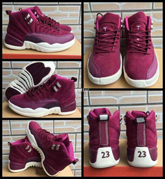 man baskets NZ - High Quality 12 Bordeaux Men Basketball Shoes,Mens 12s Wine Red Purple White Sports Trainers Sneakers Basket ball Shoe Size US 7-11