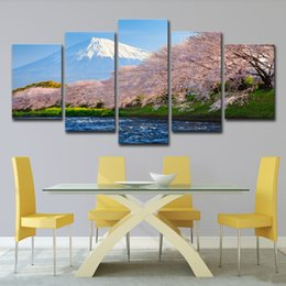 $enCountryForm.capitalKeyWord Canada - HD Print Canvas Painting On 5 Panel The Cherry Blossom Landscape Paintings Wall For Living Room Cuadros Modular Picture