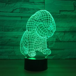 Batteries Usb Mouse Canada - Little Dog 3D Optical Illusion Lamp Night Light DC 5V USB Powered AA Battery Wholesale Dropshipping Free Shippin