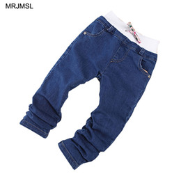 girl bowties UK - MRJMSL Fashion Girl spring autumn Clothes kids trousers Children Jeans for Girls Jeans Pants bowties