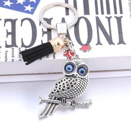 Wholesale High Quality DIY Black Tassel Retro Metal Owl Keychain Male and Female Fashion Jewelry Accessories Broken Hair HJ813