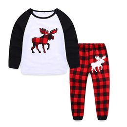 $enCountryForm.capitalKeyWord Canada - 2pcs Christmas Kids Clothes Long Sleeve Plaid Children tees pants Autumn fashion boy and girls homewear sleep outfit
