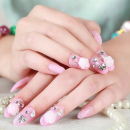$enCountryForm.capitalKeyWord NZ - New 24pcs set Cute pink 3D False Nails Crystal Rhinestone Glitter Tips Bridal Nail Women Wedding Z010