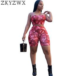 Discount strip off women - ZKYZWX Sexy Plus Size Spaghetti Strip Two Piece Set Summer Camouflage Shorts Set Women Off Shoulder Crop Top+Shorts 2pcs