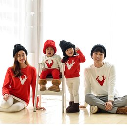 Match Clothing Mom Baby NZ - 2018 Christmas Family Look Deer Mommy Me Clothes Matching Family Outfit Mother Daughter Mom Son Father Baby Sweatshirt red white