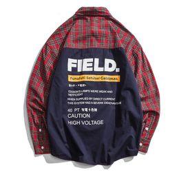 Mens patchwork plaid shirts online shopping - 2018 Patchwork Printed Pockets Plain Long Sleeve Shirts Mens Autumn Casual Cotton Shirts Streetwear Male Hip Hop Shirt