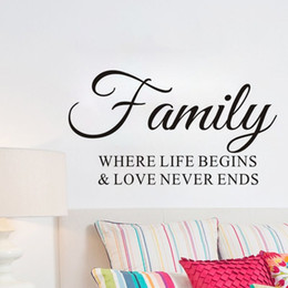 Bathroom Wall Sticker Quotes Australia - Family Where Life Begins Wall Stickers Quotes DIY Home Decor Vinyl Art Stickers Removable Wall Decals