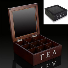 $enCountryForm.capitalKeyWord NZ - Modern 9 Grids Wooden Tea Box Kitchen Organizer Transparent Glass Top Lid Tea Bags Container Storage Box Case Square Gift Box C18111501