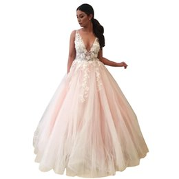 f7f47c7844d1a Women party Dress Floral Appliques Long Prom Dresses Sexy Deep V-Neck Party  Dresses Floor Length Open Back Tulle Fashion Women Evening Gowns