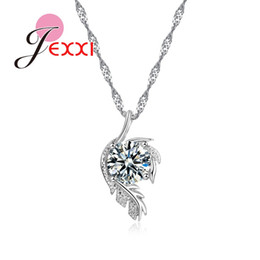 JEXXI Beautiful Women Jewelry Fashion Birthday Gift Stainless Silver Chain Leaf Shape Clear Crystal Necklace For Girlfriend
