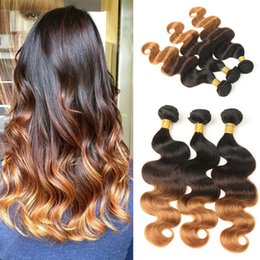 honey hair color 2019 - Malaysian Virgin Human Hair 3 Bundles Ombre Human Hair Weave Bundles Three Tone 1B 4 30 Honey Blonde Remy Extensions dis