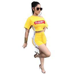 Girls trendy shorts online shopping - Super Letter Women Summer Activewear Shorts Crop Top Off Shoulder Split Outfits Sexy Club Trendy T shirt Two Piece Set Print Girl Sportswear