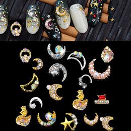 $enCountryForm.capitalKeyWord Australia - 100pcs Nail Metal Hollow Decoration With Pearl&Diamond Jewelry Rhinestone Nail Art 3D Crystal Rhinestone Top Beauty Charms
