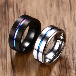$enCountryForm.capitalKeyWord Australia - 8mm Black Titanium Ring for Men Women Wedding Bands Trendy Rainbow Groove Rings Jewelry Usa Size 10pcs Accessories