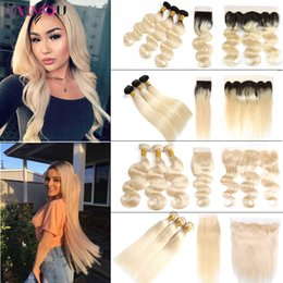 1b 613 closure online shopping - Onlyouhair B Ombre Human Hair Bundles with Closure Brazilian Virgin Hair Body Wave Straight Blonde Bundles with Lace Frontal