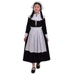 kids carnival clothing Australia - Kids Girls Puritan Costume Pilgrim Carnival Party 1920s Religious Cosplay Halloween Clothing Classical Prairie Dress Suit