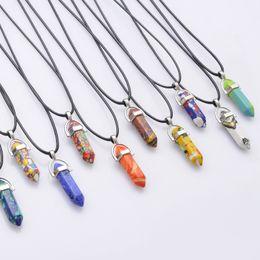 Turquoise Pendant Men Australia - New Bullet Shape Natural Stone Necklaces & Pendants Hexagonal Prism Quartz Turquoise Necklaces Jewelry For Women Men