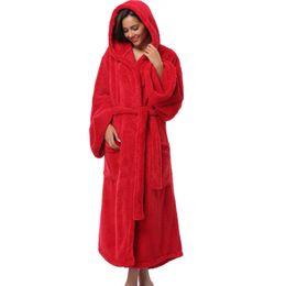 05451099a8 Winter Thick Warm Women Robes 2017 Coral Fleece Sleepwear Long Robe Woman  Hotel Spa Plush Long Hooded Bathrobe Nightgown Kimono