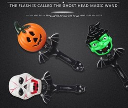 Discount wand toys - Plastic Shining Magic Stick Halloween Children Funny Wand with Scary Ghost Sound for Halloween Prank Toys Supplies Kids