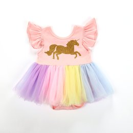 Chinese  Baby girls unicorn Printed romper cartoon Rainbow horse Dress Children lace TuTu Fly sleeve Jumpsuits 2018 new Kids Clothing C3731 manufacturers