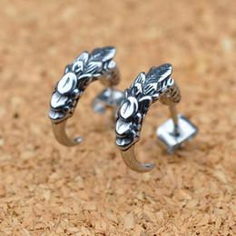 $enCountryForm.capitalKeyWord Australia - Stud Earrings for Men Fashion Male 925 Sterling Silver Dragon Claw statement Mens Biker Rocker Earring Jewelry