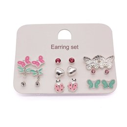Cheap Cute Fashion Jewelry NZ - 2017 new silver cute stud earrings set fashion earring for childrens girls jewelry cheap promotion gift items