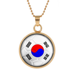Bohemian alloy necklace online shopping - New Three dimensional World Cup Korea Necklace Pendant colorful pendant Glass Cabochon Dome Necklaces jewelry Bestselling customed