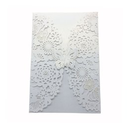 Laser cut birthday cards online shopping - 10pcs Vertical Laser Cut Butterfly Invitations Cards Kits for Wedding Bridal Shower Birthday with Ribbon Paper and Envelopes