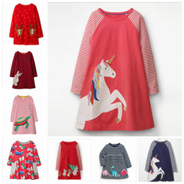 line baby girls t shirt Canada - Girls Christmas Dresses Animal Print Baby Dress Infant Unicorn Striped Top T-shirt Toddler Long Sleeved Dress Kids Designer Clothes ZYL7-2