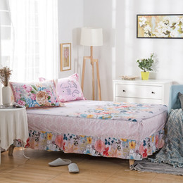 Bedding Spreads Canada - Bohemian Korean flowers bed skirt, striped plaid bed spread simple style maress cover twin full queen king size 1 piece coon