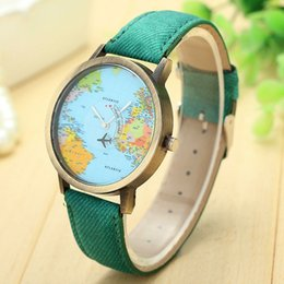 vintage chronograph men watch NZ - Vintage Leather Quartz Women Watch Fashion Casual Men Wrist Watch Ladies World Map Aircraft Watches Relogio Feminino