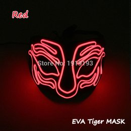 Wholesale 2018 Cheap Halloween EL Mask Flashing LED Neon Costume EVA Tiger Mask for Carnival Party Decoration with Sound Actived