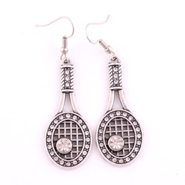 tennis rackets wholesale UK - New Styles Love Crystal Tennis Racquet Racket Ball Sport Fan Player Pendant Charm Hook Earring Female Jewelry