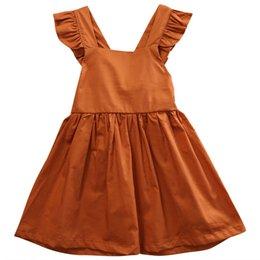 Discount infant baby sundress - 3M- 4Y baby dress 2018 New Cute Baby Girls Infant Bowknot Sleeveless Cotton Ruffled Vest Dress Sundress girl cothing