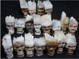Ingrosso 10pcs (70-90g) 100% NATURALE quarzo cristallo esemplare cluster Intagliato Skull Healing