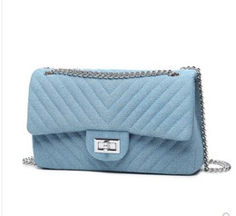 $enCountryForm.capitalKeyWord Canada - Aminou Women Designer Shoulder Bag Chains Flap Messenger Bags Ladies Diamond Lattice Denim Crossbody Bags For Girls Blue Handbag