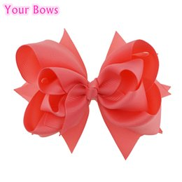 Coral Hair Accessories Australia - Your Bows 1PC 5 inches Kids Hair Bows 3 Layers Solid Coral Rose Hair Clips Boutique Ribbon For Girls Accessories