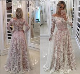 $enCountryForm.capitalKeyWord Australia - 2018 New Evening Dresses Wear Off Shoulder Full Lace Applique Illusion Button Back Long Sleeves Sweep Train Prom Dress Party Pageant Gowns