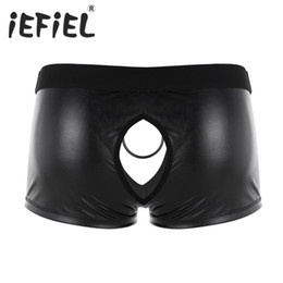 $enCountryForm.capitalKeyWord UK - iEFiEL Sexy Gay Men Male Lingerie Soft Faux Leather Cut Out Low Rise Boxer Jockstrap Underwear Underpants with Ball Metal O-ring