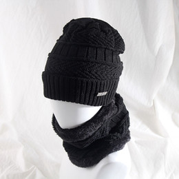 Wholesale Velvet Suit Set NZ - New Fashion Winter Wool Caps Men Women Outdoor Riding Knitting Plus Velvet Hat Set Thick Warm Headgear Bib Two-piece Suit