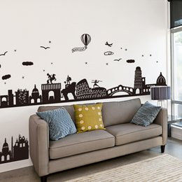 Baseboard Stickers NZ - wall [SHIJUEHEZI] Black Color City Buildings Baseboard PVC Wall Sticker for House Living Room Decoration Mural Decals
