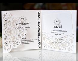 Discount navy pocket squares - White Color Pocket Invitations Square Laser Cut Wedding Invitation - Blank Inner Laser Cut Wedding Invite Pocket