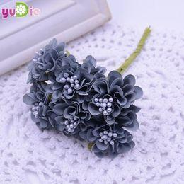 Wholesale Silk Mini Bouquets NZ - 120pcs lot Mini Silk Artificial Rose Bouquet Wedding Decoration Paper Flower For DIY Scrapbooking Flower Ball Cheap Flores