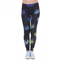 Black Milk Leggings Sizing Australia - Woman Girl Fitness Sexy Trousers Maple Leaf 3D Printed Gloss Pencil Pants Slim Elastic Workout Tights Milk Silk Leggings Lga41593 One Size