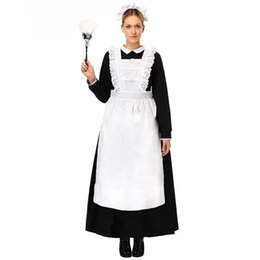 4410a8940 Adult Women Halloween French Maid Long Sleeve White Apron Dress Suit Ladies  Fancy Black Cosplay Outfit For Girls Large Size sexy
