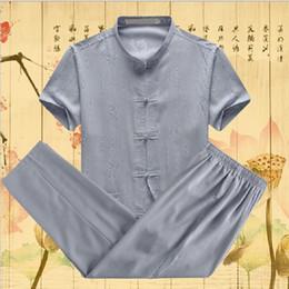 Discount gold linen suits - ECTIC 519-618 Men's Linen Suits Sets (T-shirt + pants) Chinese Style Men Casual Long Sleeve T Shirt Plus Size L- 5X