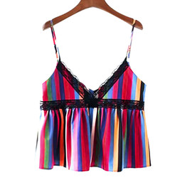 Top Womens Wholesale Clothing UK - Halter Top Sexy Top V-Neck Striped Lace Sleeveless Backless Strap Womens Clothing Ropa Verano Mujer